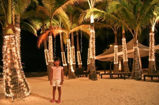 White Beach: Zoe and the beautifully lit palm trees.