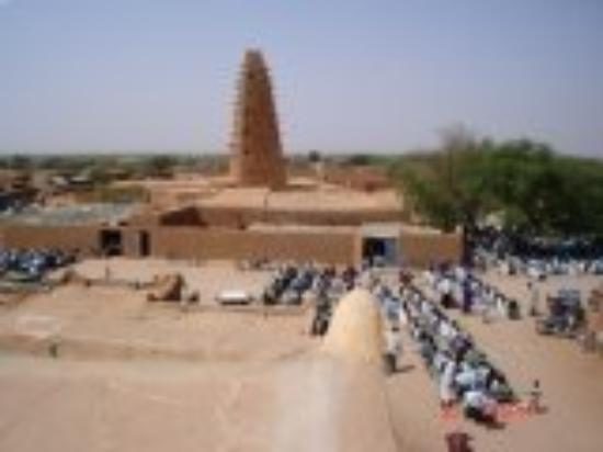 friday prayers at a very beautiful Mosque in Agadez, Niger