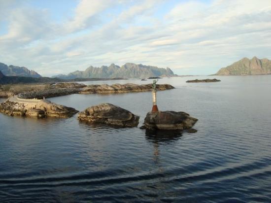 The Hurtigruten arriving at Svolvaer, the capital of the Lofoten Islands