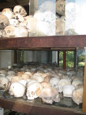 ทุ่งสังหารเชิงเอก: Skulls in the memorial monument.