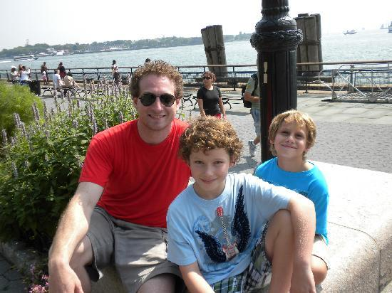 Real New York Tours: Nathan and my boys across from statue of Liberty