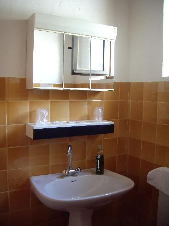 """Hôtel Lac et Forêt : salle de bain""""il y a douche avec rideaux plastique"""