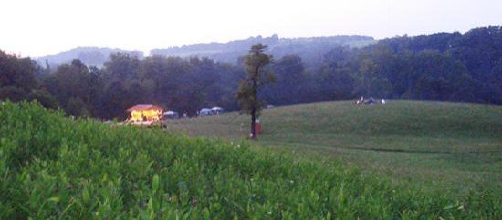 Pentress, WV: stage in the distance - at dusk