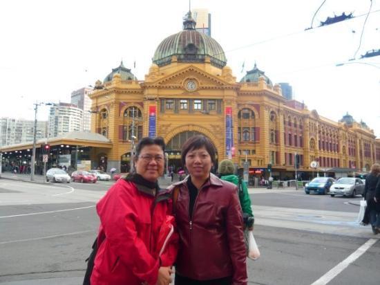 Flinders Street Station: With Amy outside Flinder Station, 25 Apr 09
