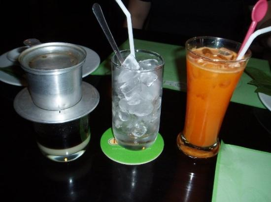Pho 24: My coffee is still dripping eh... Bess's Carrot juice is ready to drink...