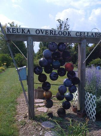 Keuka Overlook Wine Cellars: Winery sign made from bowling balls, how cool!