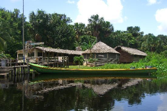 Orinoco Delta, Venezuela: Il camp visto dal Rio Morichal, arrivando con la barca