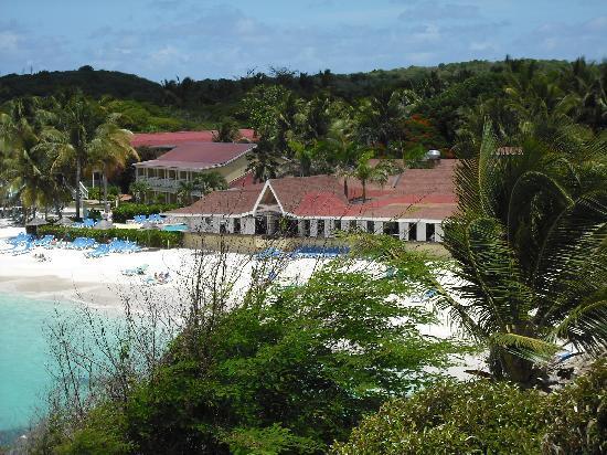 Pineapple Beach Club Antigua: resort and beach from the hill