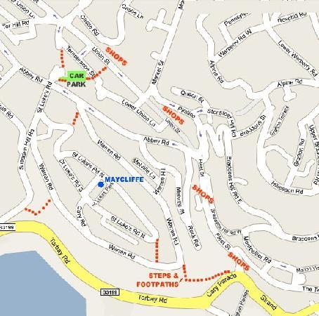 Maycliffe Hotel: Map showing routes to shops and harbour