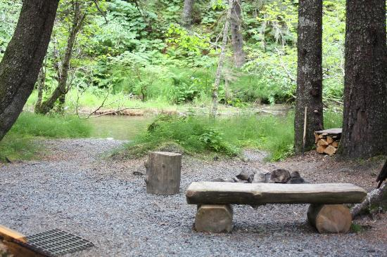 Alaska Creekside Cabins: Fire pit and creek at Spruce Cabin