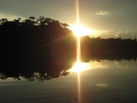 Yasuni National Park, Ecuador: Sunsetting over the lake, Amazon jungle
