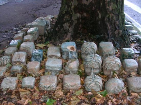 These stones have been shaped into the faces of the people hung in Derby, it took me a while to