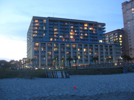 Dunes Village Resort: the hotel view at night from the beach