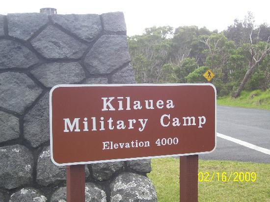 Sign Picture Of Kilauea Volcano Military Camp Hawaii