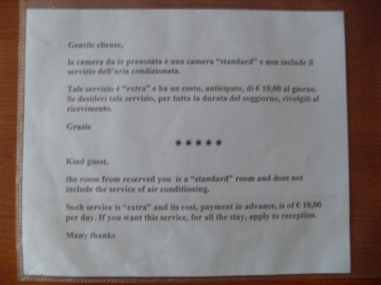 Hotel Il Gabbiano: Air conditioning charges