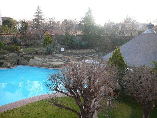 Maseru, Lesoto: View of the pool/tiki bar from my balcony, pretty nice