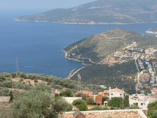 turkiska Medelhavskusten, Turkiet: view of Kalkan bay from the lemon tree apatments.