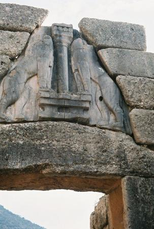 """Mycenae, Greece  """"Lions Gate"""" entrance (solid stone carving of two lions which stand as sentrie"""