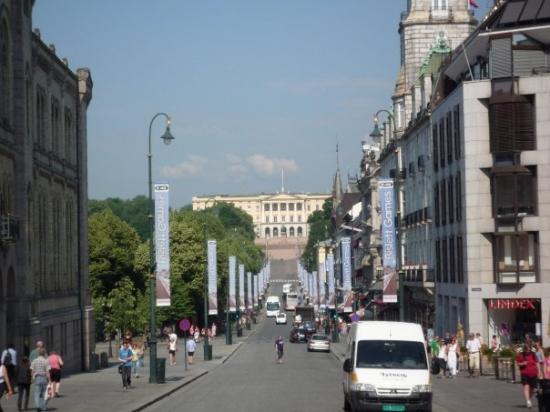 ออสโล, นอร์เวย์: Karl Johanes Gate - Le palais royal au fond. Une des plus célèbres rue de Oslo.