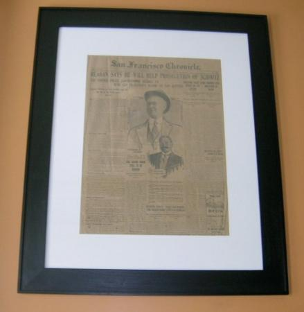The Hanford House Inn : Art work in room-this is a framed page from an old San Francisco Chronical newspaper published t