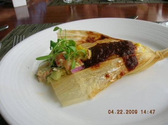 shrimp ceviche tamale...Maui Culinary Academy