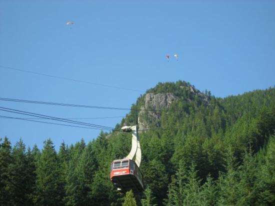 Watching the famous skyride at Grouse Mountain coming down....