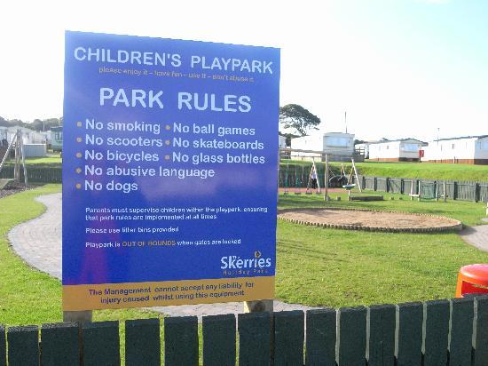 Skerries Holiday Park: Just a few of the rules!