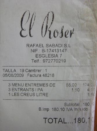 Hostal El Roser: Prueba de factura 2