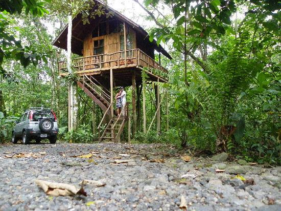 Tree Houses Hotel Costa Rica: My husband and I as newlyweds standing outside our treehouse