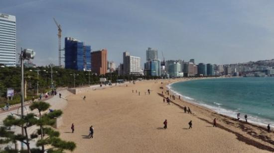 ปูซาน, เกาหลีใต้: Der berühmte Haeundae Beach im Osten der Stadt