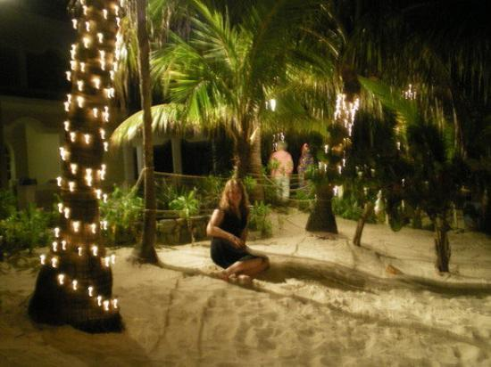 Mayan Princess Beach & Dive Resort: me under the palm trees (watching out for crabs! lol)
