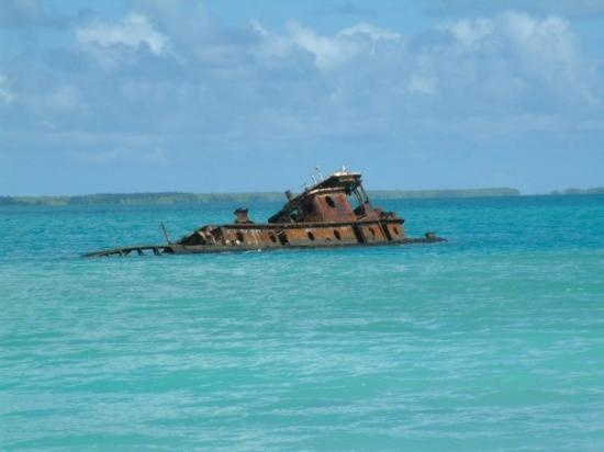 Fanning Island.  lol yes that's a real half sunk ship that they didn't bother to clean up.  Then
