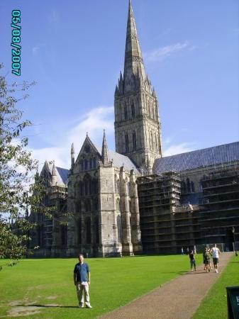 Salisbury Cathedral and Magna Carta: Steve at the Salisbury Cathedral.  This is one of the tallest cathedral spires in England.  The