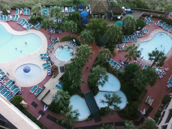 Beach Cove Resort: View of the pools from our room