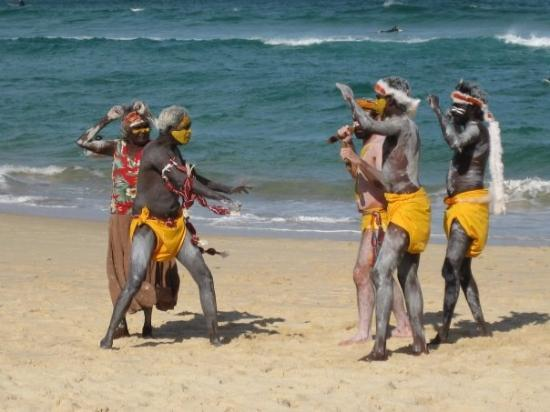 Bondi Beach: September 2008: Aboriginies performaing a whale calling dance to promote a new film, Whaledreame
