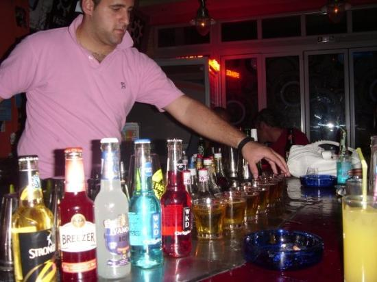 Argassi, กรีซ: lining up the drinks! still to this day dont know what it was