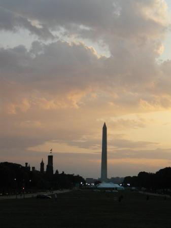 Washington Monument: The Washington Mall at sunset, from the Capitol.  Washington DC, July 2009
