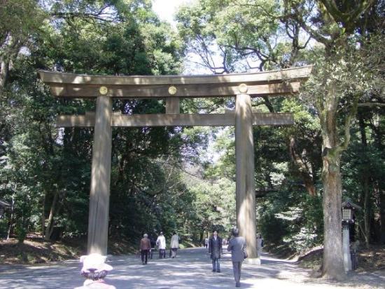 ชิบูยา, ญี่ปุ่น: The gateway to Meiji Shrine. The largest wooden Torii in Japan.