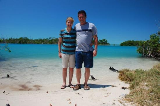 Reef Adventures Belize: Craig & Terry on a deserted beach near San Padro, Ambergris Caye, Belize