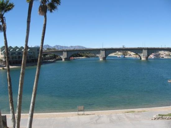 "The famed ""London Bridge,"" now located over Lake Havasu, Arizona."