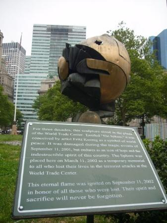 Battery Park: Fritz Koenig's The Sphere which previously sat in the center plaza of the World Trade Center.  I
