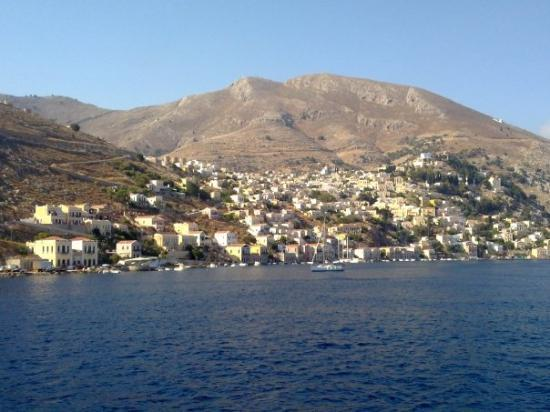 Symi Harbour (Yialos) and Village (Chorio) on top of hill
