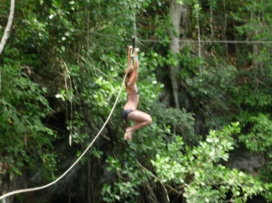 Selvatica: Swinging out over the cenote...so much fun I didn't like 10 times!