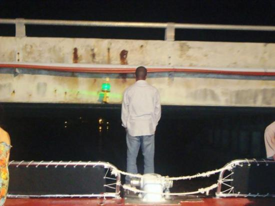 Grand Bahama Island: Neil about to hit his head on the bridge! lol ......