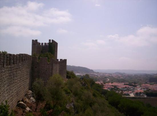 Obidos Village: Looking back at some of the ground, er, wall we covered as part of our walk along the top of the