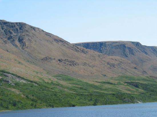The Tableland Mountains, Gros Morne National Park, Newfoundland, as seen from the boat tour (Aug