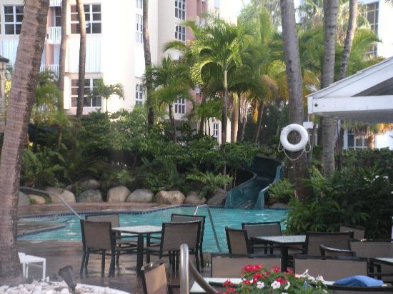 The Condado Plaza Hilton: Other side of pool area with slide
