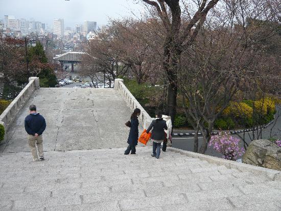 เดอะ ชิลลา โซล: 駅からホテルの入り口に向かう階段。登り疲れました。