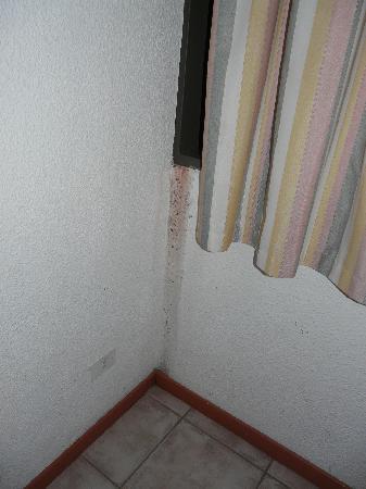 Hotel Slalom: Humedades pared de una de las 2 habitaciones en que estuvimos
