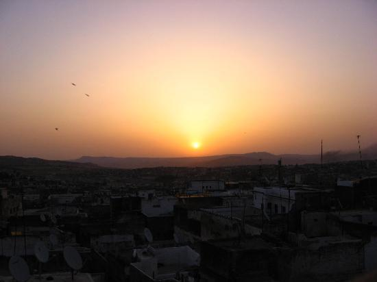 Sunrise over the Fes medina, view from the roof at Dar El Hana